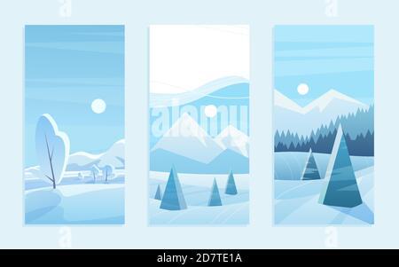 Ensemble d'illustrations vectorielles pour carte de vœux de Noël en paysage. Dessin animé bois de gel mignon avec des pins géométriques sous la neige, des montagnes bleues plates à l'horizon, neige hiver forêt collection paysage