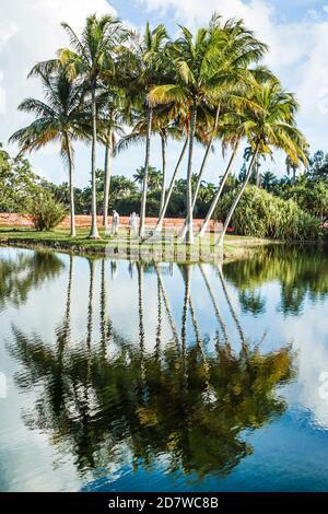 Miami Florida,Coral Gables,Fairchild Tropical Garden,Botanical Gardens,palmiers réflexion d'eau,