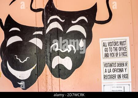 Florida Miami Beach Washington Avenue, panneau d'entrée du théâtre anglais espagnol multilingue, Banque D'Images