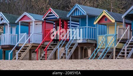 Cabanes de plage colorées, Wells Next the Sea, Norfolk, Royaume-Uni