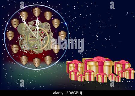 Bannière Noël et nouvel an avec horloge dorée, boîtes cadeaux, étoiles et espace de copie. Modèle de conception des affiches de Noël et du nouvel an. Illustration vectorielle Banque D'Images