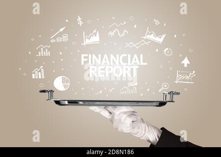 Serveur servant concept d'idée d'affaires avec inscription DE RAPPORT FINANCIER