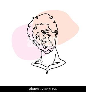 Dessin continu d'une ligne de portrait d'homme. Coiffure. Style tendance pour Homme.