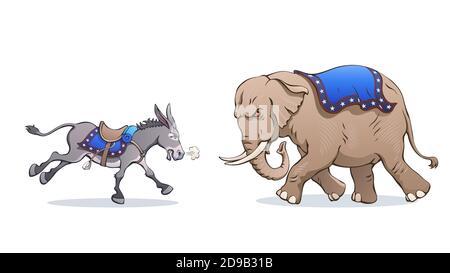 L'âne et l'éléphant s'attaquent l'un à l'autre. Caricature politique vectorielle. Débat entre démocrates et républicains lors des élections américaines. Mascottes de dessins animés.