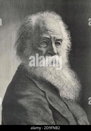 WALT WHITMAN (1819-1892) poète et essayiste américain vers 1887