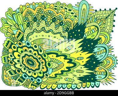 Motif croquant coloré. Motif fleuri et motif toile de doodle. Texture psychédélique. Répétition d'angle Z. Illustration vectorielle