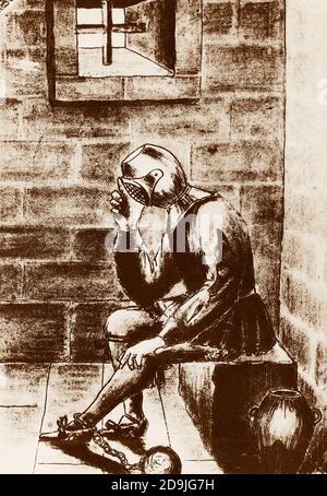 L'homme dans le masque de fer emprisonné Banque D'Images