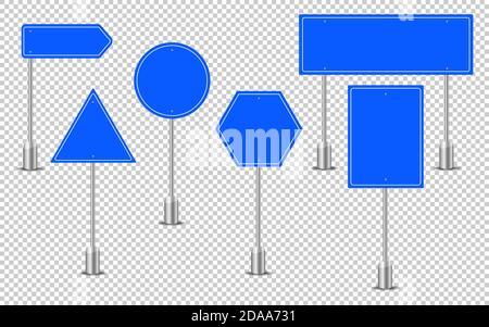 Panneaux de signalisation bleus. Panneau de texte du tableau de bord, maquette signalisation direction autoroute ville signalisation emplacement rue flèche direction vecteur ensemble.