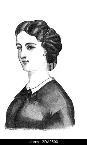 Coiffure - coiffures de femme de Godey's Lady's Book and Magazine, Marc, 1864, Volume LXIX, (Volume 69), Philadelphie, Louis A. Godey, Sarah Josepha Hale,