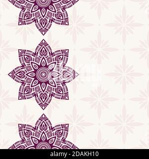 Motif de bordure sans couture avec mandalas. Bordures en dentelle Mehndi. Texture sans fin. Espace pour le texte. Arrière-plan de couleur vectorielle.