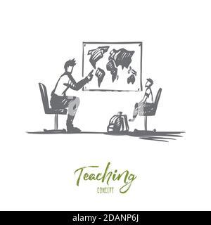 Père, fils, famille, parent, concept d'enseignement. Vecteur isolé tracé à la main.