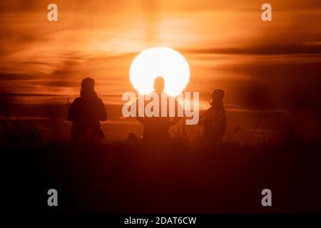 Berlin, Allemagne. 15 novembre 2020. Les gens regardent le lever du soleil sur la montagne du Dragon. Credit: Christoph Soeder/dpa/Alay Live News
