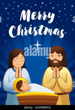 Carte de vœux de fête de Noël, scène Sainte de famille. Illustration vectorielle naissance du Christ, avec le bébé Jésus prière Marie et Joseph et étoile de Bethléem