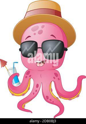 Illustration vectorielle de drôle de dessin animé octopus été Banque D'Images