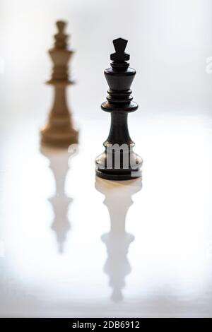 Noir roi dans la mise au point et blanc roi dans l'arrière-plan. Mise au point sur le premier plan. Faible profondeur de champ. Verticale.