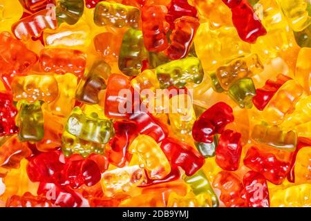 Ours en peluche, bonbons en gelée. Bonbons colorés.