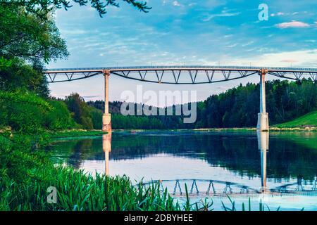 Pont piétonnier White Rose au-dessus de la rivière Nemunas -Baltosios rozes tiltas