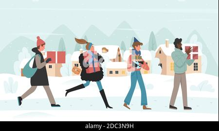 Achetez des cadeaux pour l'illustration vectorielle de la veille de Noël. Caricature homme heureux femme acheteurs personnages avec boîte cadeaux marche, courir pour Noël ou le marché du nouvel an grande vente, Noël hiver ville rue arrière-plan Banque D'Images