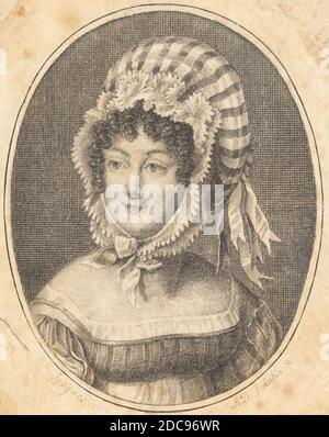 Augustin de Saint-Aubin, (artiste), Français, 1736 - 1807, Chef d'une femme portant un chapeau rayé, gravure