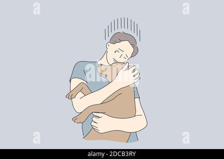 Dépression, frustration, embrasser, aider, concept d'animal de compagnie. Jeune pleurant frustré déprimé homme personnage de bande dessinée garçon embrassant chien ami. Animal médical TH