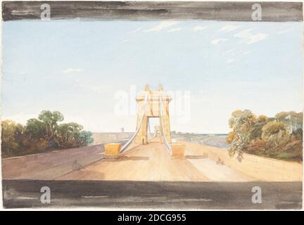 James Bulwer, (artiste), British, 1794 - 1879, Clifton suspension Bridge près de Bristol, c. 1832, aquarelle et graphite, hors tout (environ) : 18.8 x 27.4 cm (7 3/8 x 10 13/16 po