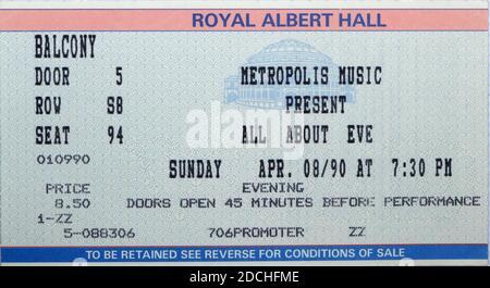 Concert pour la veille au Royal Albert Hall Londres Angleterre Dimanche 8 avril 1990