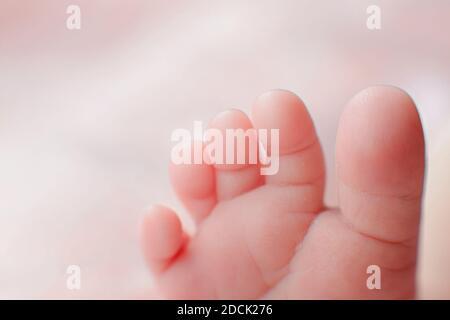 Vue en détail macro de la petite-fille de nouveau-né de race blanche. Portrait d'enfant, santé de la peau, sensibilité, maternité et concept de la puériculture - image. Sélection douce