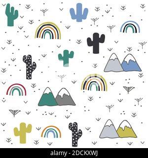Dessiné à la main, cactus, montagne, motif arc-en-ciel