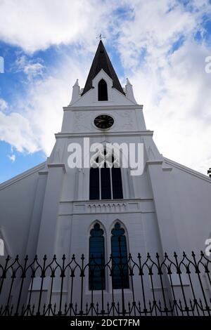 Tour néo-gothique du Stellenbosch Moederkerk , église néerlandaise réformée, Cap Winelands, province du Cap-Occidental, Afrique du Sud.