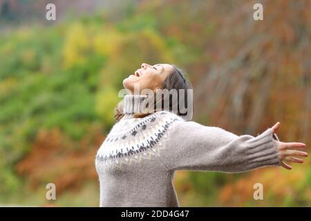 Profil d'une femme d'âge moyen excitée célébrant les bras en élongation en montagne en automne