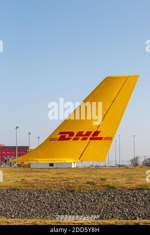 Leipzig, Allemagne - 19 août 2020 : siège de DHL à l'aéroport de Leipzig Halle LEJ en Allemagne.