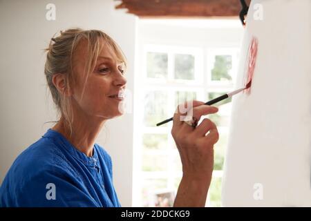 Femme sénior active se concentrant tout en peignant sur toile à la maison Banque D'Images