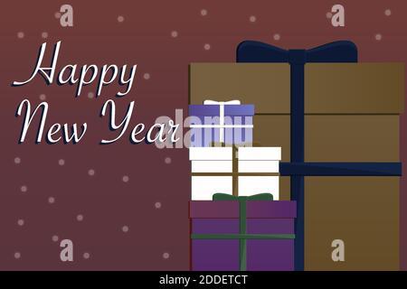 Boîte-cadeau Vector coloré du nouvel an et cadeaux avec neige et rubans. Arrière-plans et cartes de Noël et de nouvel an Banque D'Images