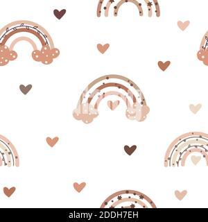Joli motif sans couture aux couleurs nordiques avec des boucles de pluie douces et des éléments en forme de coeur isolés sur fond blanc. Illustration vectorielle dessinée à la main en S.