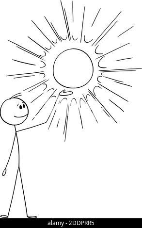 Dessin animé vectoriel figure représentant un homme tenant et montrant un cercle, une balle ou un soleil rayonnants ou brillants. Vous pouvez ajouter une image ou une icône de produit à l'intérieur. Banque D'Images