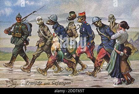 Affiche de propagande sarcastique allemande de l'époque de la Grande Guerre. Pris et piégés. 1914-1918