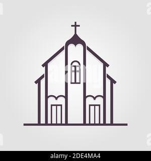 Eglise, grand design pour toutes les fins. Design intérieur. Icône de ligne. Icône du logo du bâtiment de construction. Illustration du stock vectoriel.