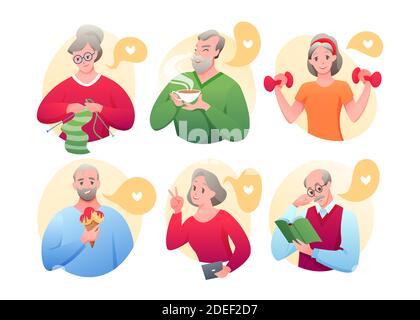 Caricaturer les avatars de vieux personnages actifs faisant de l'exercice sportif, tricotage, réseautage, manger de la crème glacée, boire du thé, lire le livre isolé sur Banque D'Images