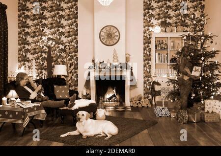 """Peinture de Noël avec la grand-mère Sabine S., le chien Louis, le modèle Marilena comme lampe de plancher et le modèle Darky comme un cadeau au restaurant Castle Hehlen. Travail sur le clip de Noël """"le Noël de l'artiste - UN Bodypainting clip vidéo de l'atelier Düsterwald"""" par Jörg Düsterwald et Alexander grosse-Strangmann. Hehlen le 28 novembre 2020"""