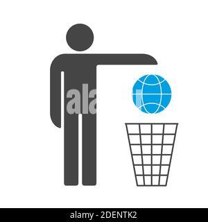 Nous sommes en train de perdre la Terre. L'homme jette la terre dans l'icône de vecteur de poubelle.