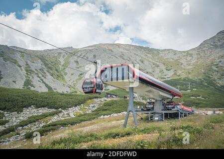TATRANSKA LOMNICA, SLOVAQUIE, AOÛT 2020 - UNE station de téléphérique au lac de montagne Skalnate Pleso dans les Hautes Tatras