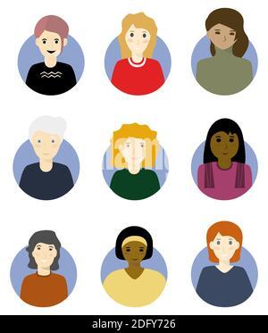 Ensemble d'avatar de visage de femme. Isolé sur fond blanc. Illustration vectorielle Banque D'Images