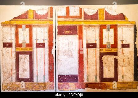 Mur de la chambre époque romaine Fresco de la Villa de la Farnesina exposée au Musée National Romain, Palazzo Massimo. Banque D'Images