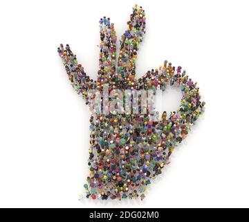 Un grand nombre de personnes d'accord signe le rendu 3d. Symbole main parfaitement ok.