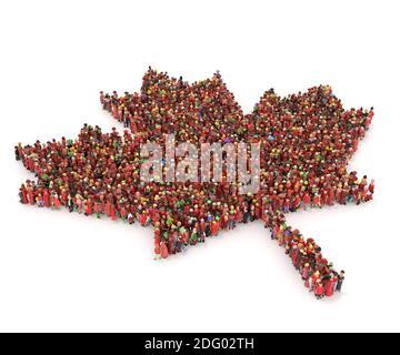 Grand nombre de personnes en 3D, vu d'en haut dans forme d'une feuille
