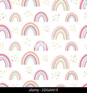 Motif bébé sans couture avec arcs-en-ciel dessinés à la main. Illustration simple sur un arrière-plan isolé. Peut être utilisé pour l'emballage. Textiles, papeterie et Clo