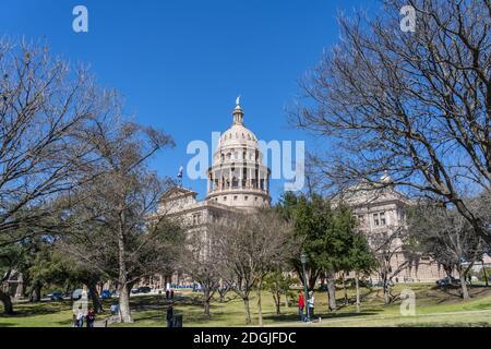 Vue aérienne de la ville d'Austin, Texas, le long de l' Fleuve Colorado