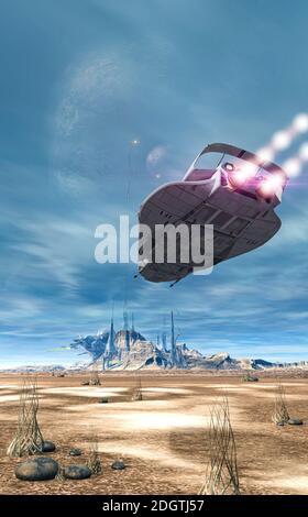 Vaisseau spatial futuriste de combat scifi survolant la surface d'une planète extraterrestre, rendu 3d.
