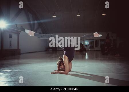 Jeune femme yogi attrayante pratiquant le concept de yoga, debout dans la variation de Pincha Mayurasana exercice, posture de la main, travail
