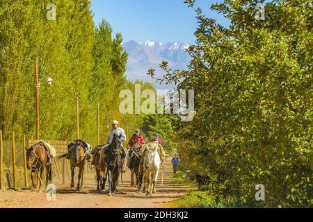 Cavaliers à la scène de campagne, province de San Juan, Argentine
